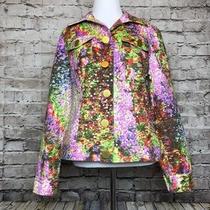Collective Works of Berek Sequin Floral Button Top